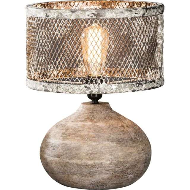 Comforium Lampe De Table Vintage Pied En Bois Convexe Et Abat