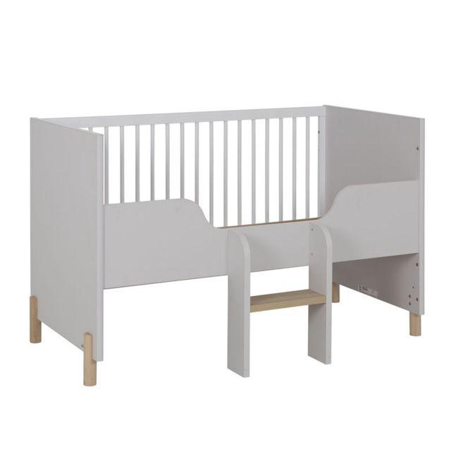 Tousmesmeubles Lit bébé évolutif Bois/Gris clair/Blanc - Tresor