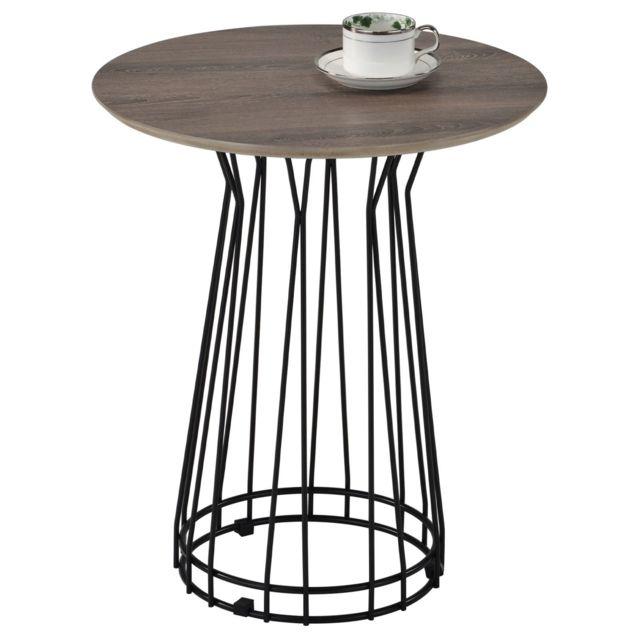 IDIMEX Table d'appoint IVETTE table basse de salon ronde table à café bout canapé style industriel, en métal noir et MDF chêne