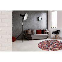 Deladeco - Tapis rond naturel en laine feutrée épais pour salon multicolore Missi
