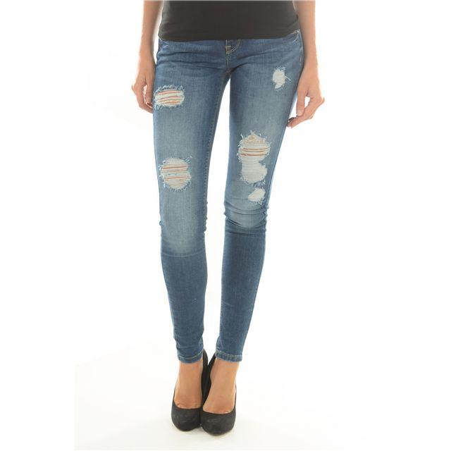 e1333ec9e8a Only - Jean Destroy Stretch - pas cher Achat   Vente Jeans femme -  RueDuCommerce