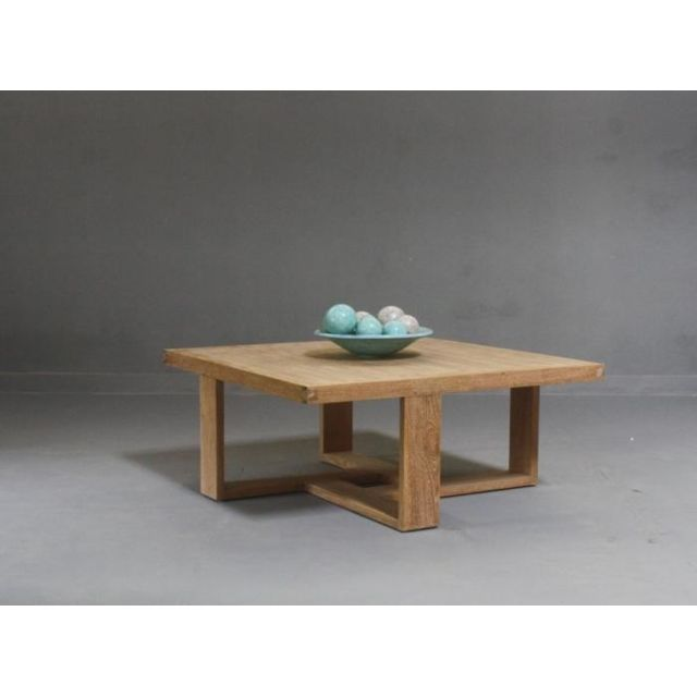 Walk Table Basse Carrée Design Teck Naturel 100cm X 100cm X 42cm