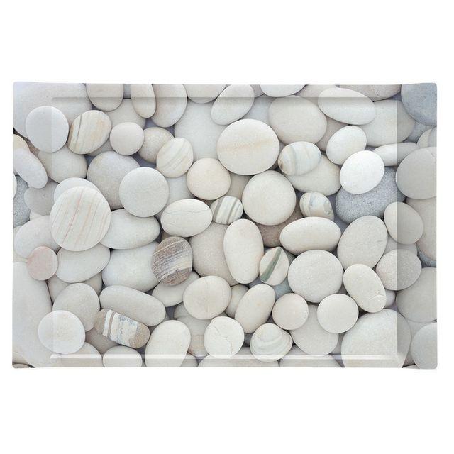 Table Passion - Plateau mélamine gris clair motif galets 49x34xH.4.5 ...