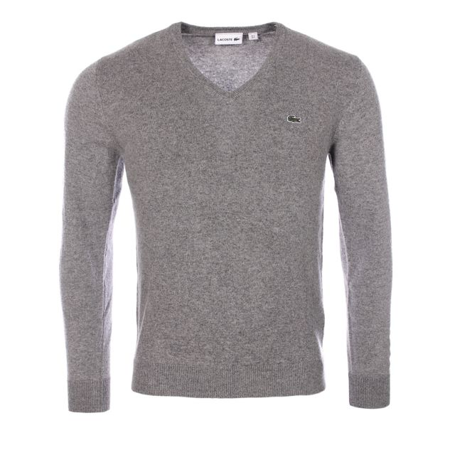 8bfbf9eef1 Lacoste - Homme - Pull gris col V 100% laine vierge Ah3003 Uwc - pas ...