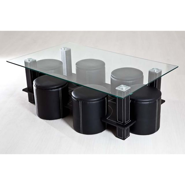 topdeco table basse 6 poufs noir pas cher achat. Black Bedroom Furniture Sets. Home Design Ideas
