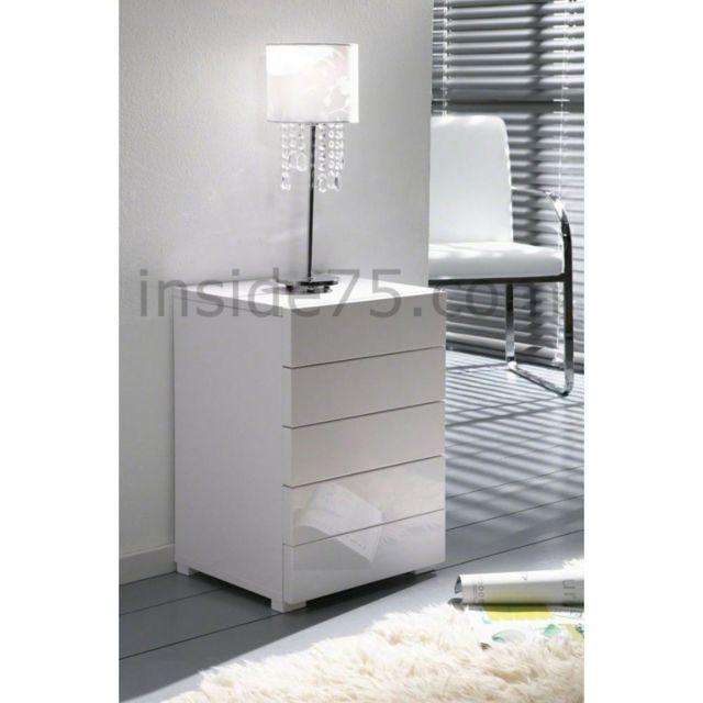 Inside 75 White chevet 5 tiroirs laqué blanc design