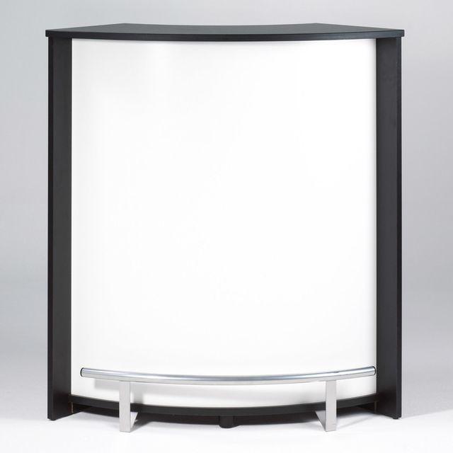 Axe Design Table de bar en bois avec repose pieds Hauteur 105cm caisson noir Visio - Blanc