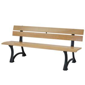 mendler banc de jardin toulon banc de parc bois et fonte massif 42 5kg 170cm nature 60cm x. Black Bedroom Furniture Sets. Home Design Ideas