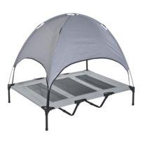 PAWHUT - Lit pour chien chat sur pieds grand confort tissu oxford micro-perforé + parasol + sac de transport inclus gris noir 60