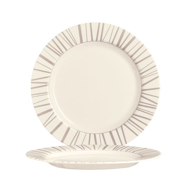 Arcoroc Assiette plate ronde 16cm beige en zenix avec motifs baguette taupe - Intensity