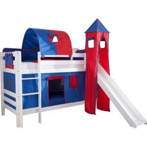 comforium lit superpos 90x200 avec toboggan design ch teau bleu et rouge blanc nccm x nccm. Black Bedroom Furniture Sets. Home Design Ideas