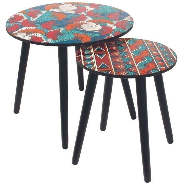 THE HOME DECO FACTORY Tables gigognes plateau Wax Lot de 2