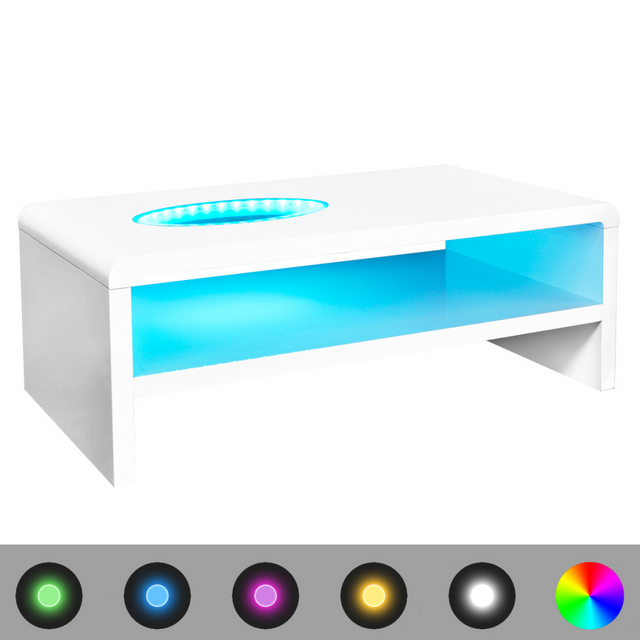 Vidaxl Table basse Led blanc brillant 42 cm