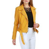 Lamodeuse - Veste jaune en simili cuir avec clous