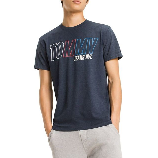 Tommy hilfiger Tshirt Tjm Block Logo Bleu Marine pas