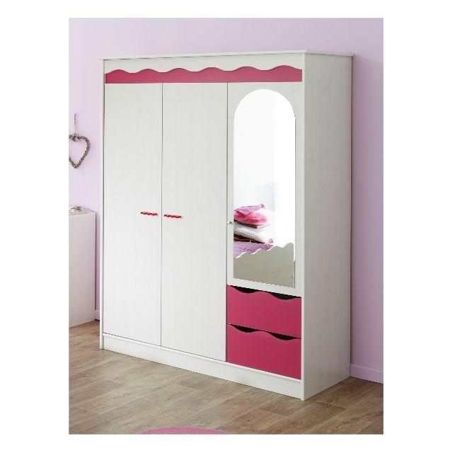 Last Meubles - Armoire 3 portes Berry Rose - 58cm x 183cm x 136cm