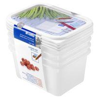 Rotho - Sundis Lot de 4 Boîtes pour congélation Domino Freeze 7552003 0.75 L 15.7x11.8x13.2 cm transparent et vert