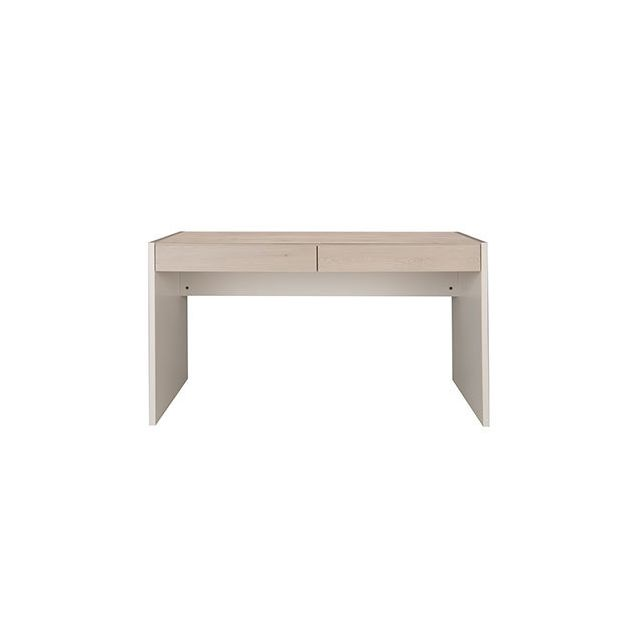 Bureau 2 tiroirs pin blanchi et blanc - Roxane