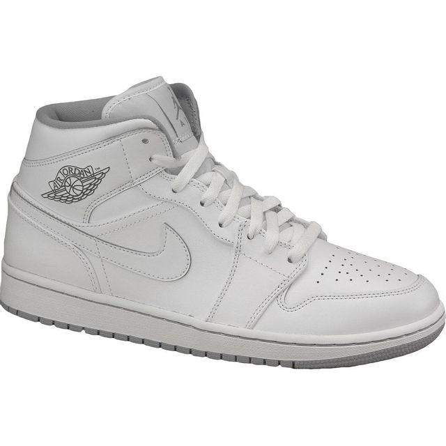 the best attitude f45ff 4a2cd Nike - Air Jordan 1 Mid 554724-112 Homme Baskets Blanc - pas cher Achat    Vente Baskets homme - RueDuCommerce