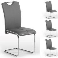 Idimex - Lot de 4 chaises Eleonora gris