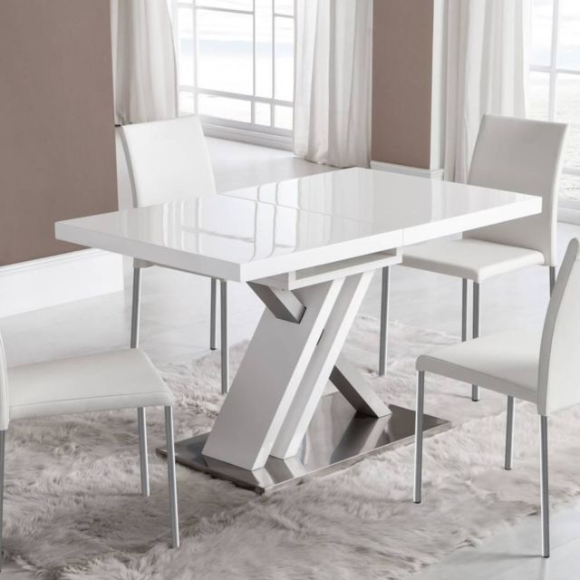 Inside 75 Table de repas extensible Sone design blanche 130x80