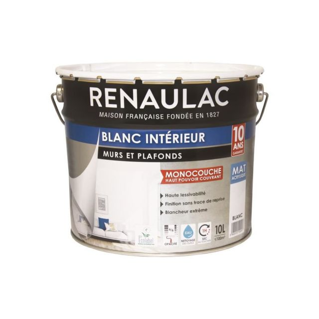 Peinture Murs Et Plafonds Monocouche Acrylique 10 L Mat Blanc