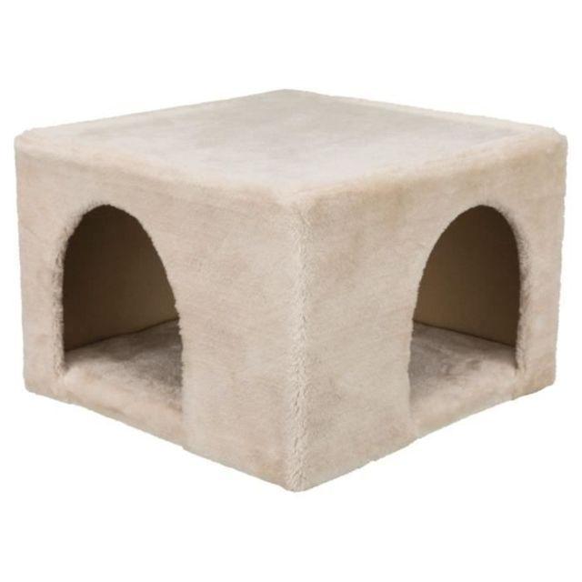 ACCESSOIRE DE CAGE - ABRI PETIT ANIMAL Abri douillet peluche - 36 × 25 × 36 cm - Beige - Pour lapins et petits rongeurs