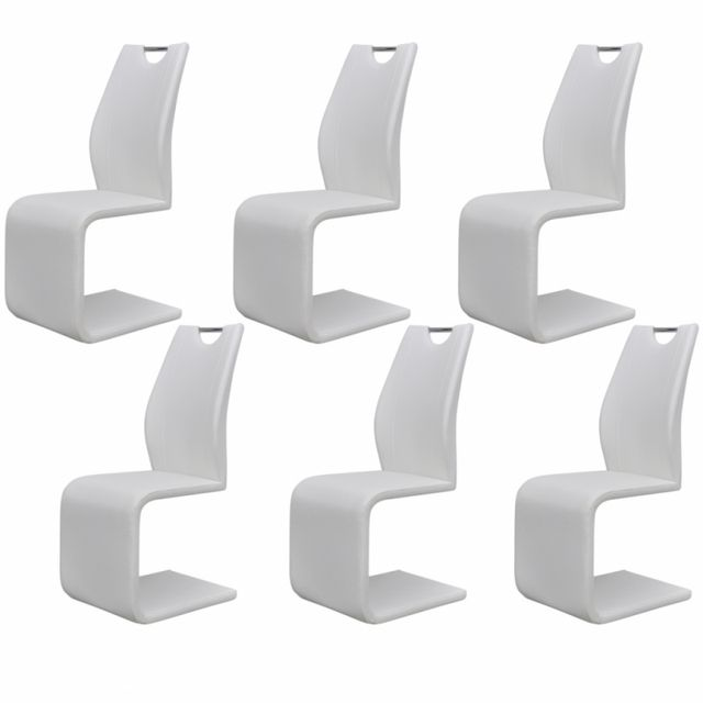 Casasmart Lot de 6 chaises en simili cuir blanc Pek