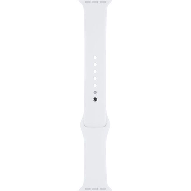 APPLE Bracelet Sport blanc 38 mm – S/M et M/L Bracelet Sport Apple Watch en fluoroélastomère - Fermoir à clou - Compatible avec boîtier 38mm