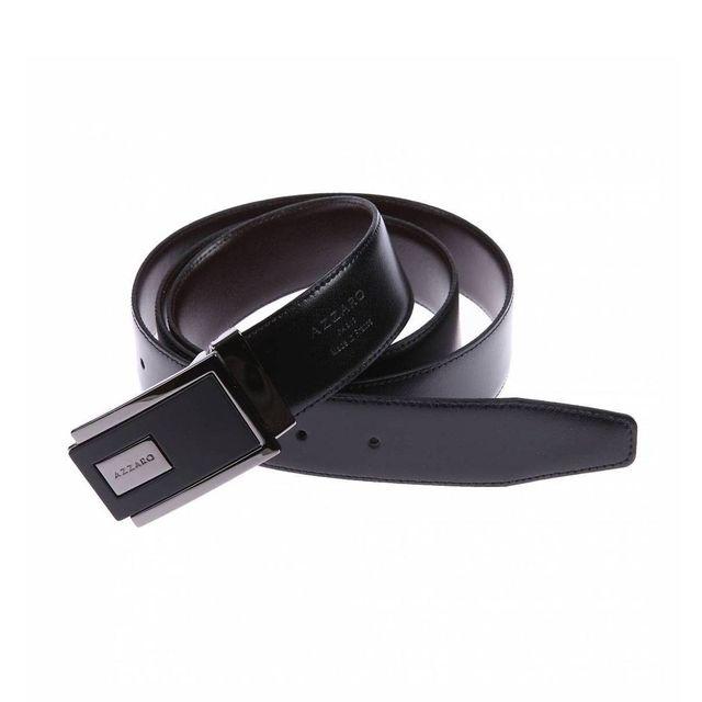 64d1b7fb9a1 Azzaro - Ceinture ajustable en cuir noir réversible marron à boucle  rectangulaire bicolore - pas cher Achat   Vente Ceinture homme -  RueDuCommerce