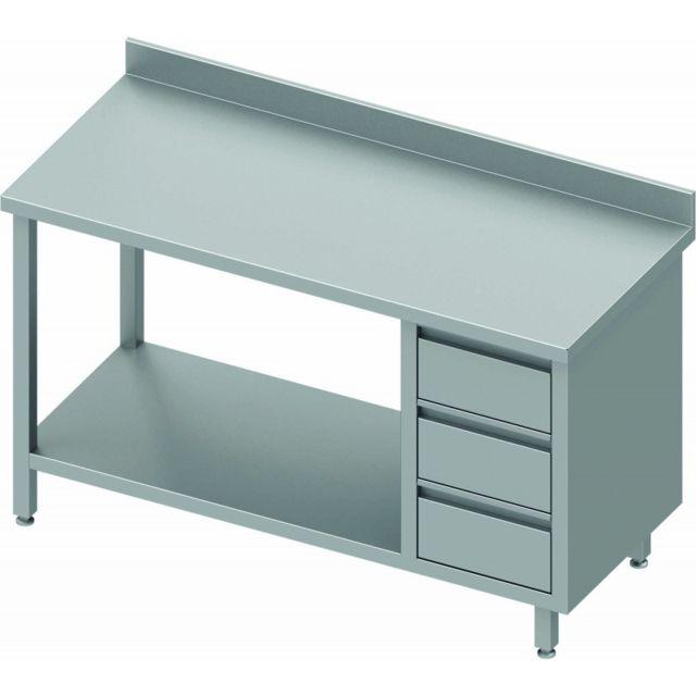 Materiel Chr Pro Table Inox Adossée Pro 3 Tiroirs & Etagère - Gamme 800 - Stalgast - inox 800x800 800