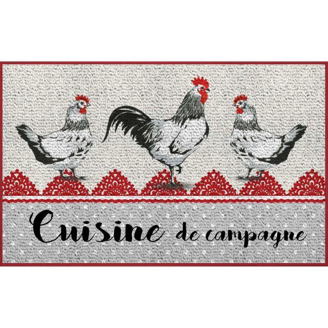 Linge Des Domes Cdaffaires tapis deco rectangle 50 x 80 cm imprime poupoule