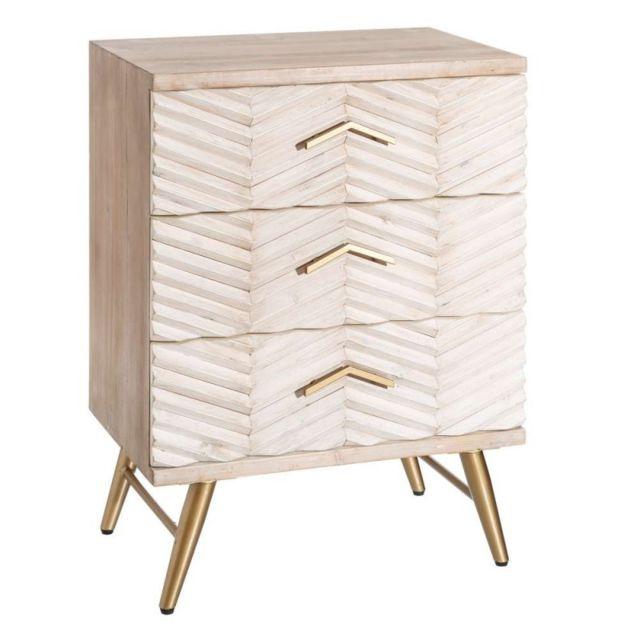 Ma Maison Mes Tendances Chiffonnier 3 tiroirs en bois beige Amir - L 60 x l 40 x H 80