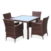 Salon de jardin en résine tressée chocolat, 4 fauteuils, table 100cm, structure en aluminium, coussins écru