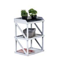 decoshop26 etagre en bois blanc vieilli 3 niveaux meuble de rangement eta10066