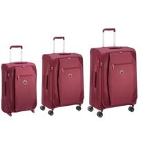DELSEY - RAMI - Lot de 3 valises souple 2/4 roues - Rouge