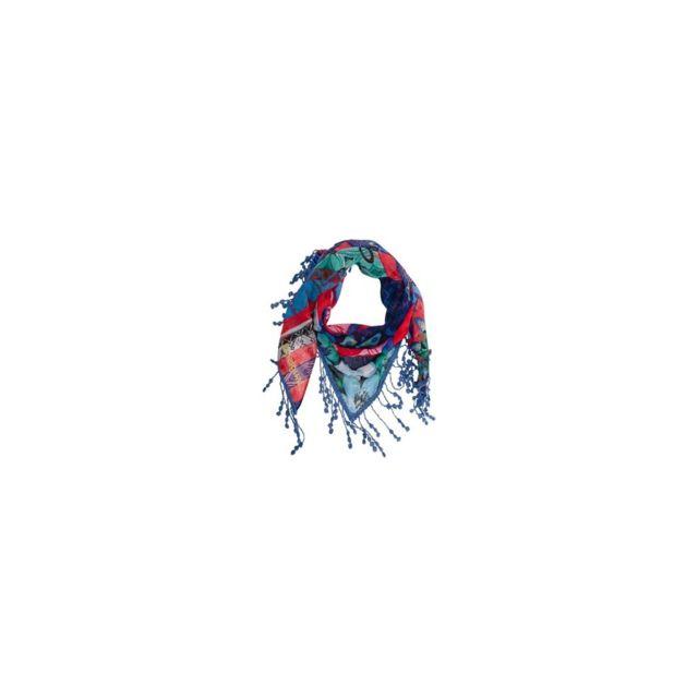 369069d7739 Desigual - Foulard Culture Club Triangle Bleu - pas cher Achat   Vente  Echarpes