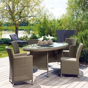 Proloisirs table de jardin ovale r sine tress e ronde gris avec plateau en verre 220x110cm - Table ronde resine tressee ...