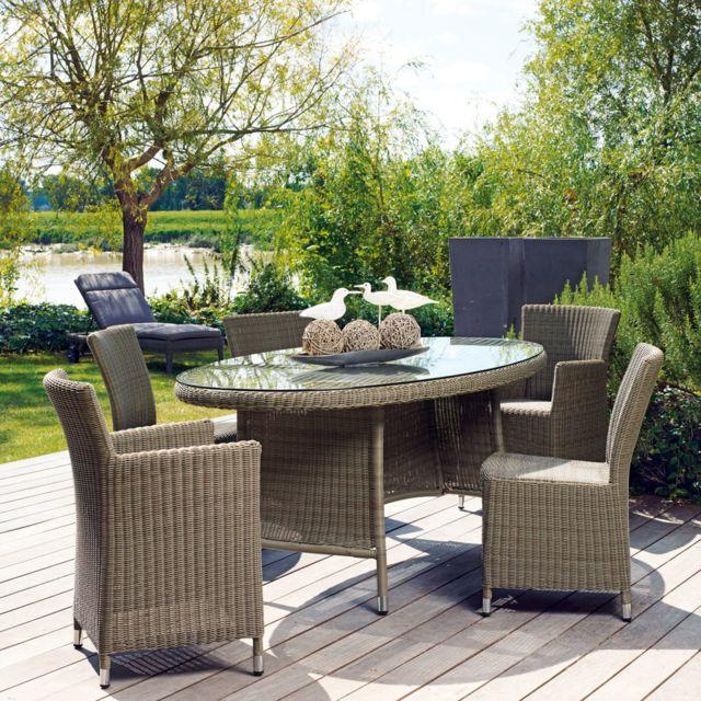 Proloisirs - Table de jardin ovale Résine tressée ronde Gris avec ...