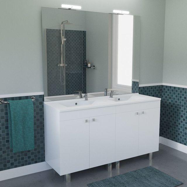 Admirable CREAZUR - Meuble salle de bain ECOLINE 140 double vasque résine QL-75