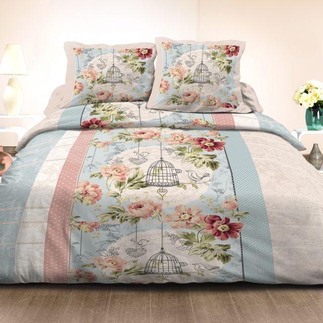 100pourcentcoton housse de couette 200x200 cm 2 taies d 39 oreiller 63x63 cm microfibre romance. Black Bedroom Furniture Sets. Home Design Ideas