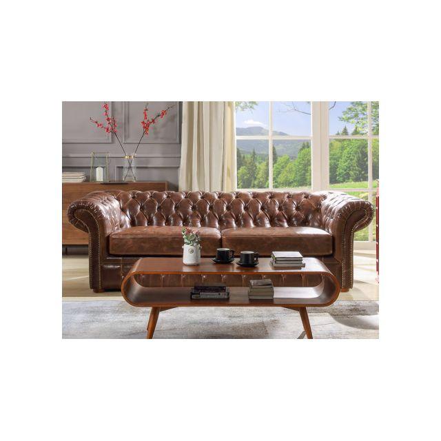 Canapé 3 places chesterfield CLOTAIRE 100% cuir vieilli