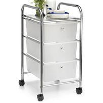 IDIMEX - Caisson sur roulettes GINA chariot avec 3 tiroirs en plastique blanc transparent et 1 tablette, meuble de rangement en métal chromé
