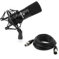AUNA - CM001B Micro condensateur voix studio XLR + 6m de câble - noir