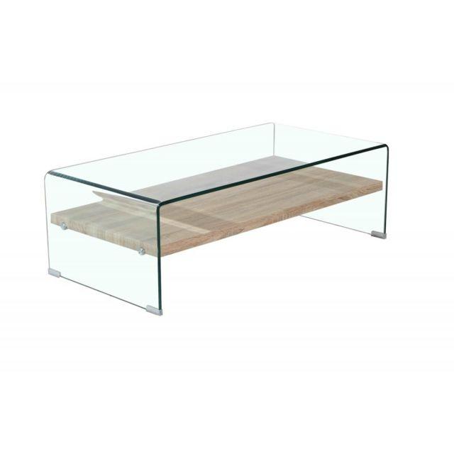 Meubletmoi Table basse en verre trempé avec étagère en bois décor chêne - Ice