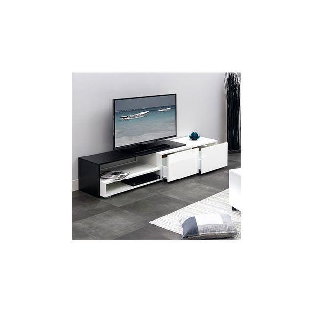 Meuble Tv 2 tiroirs blanc et noir
