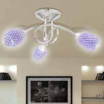 Casasmart - Lustre/ Lampe de Plafond Violet 3 Abats Jours en Cristal G9