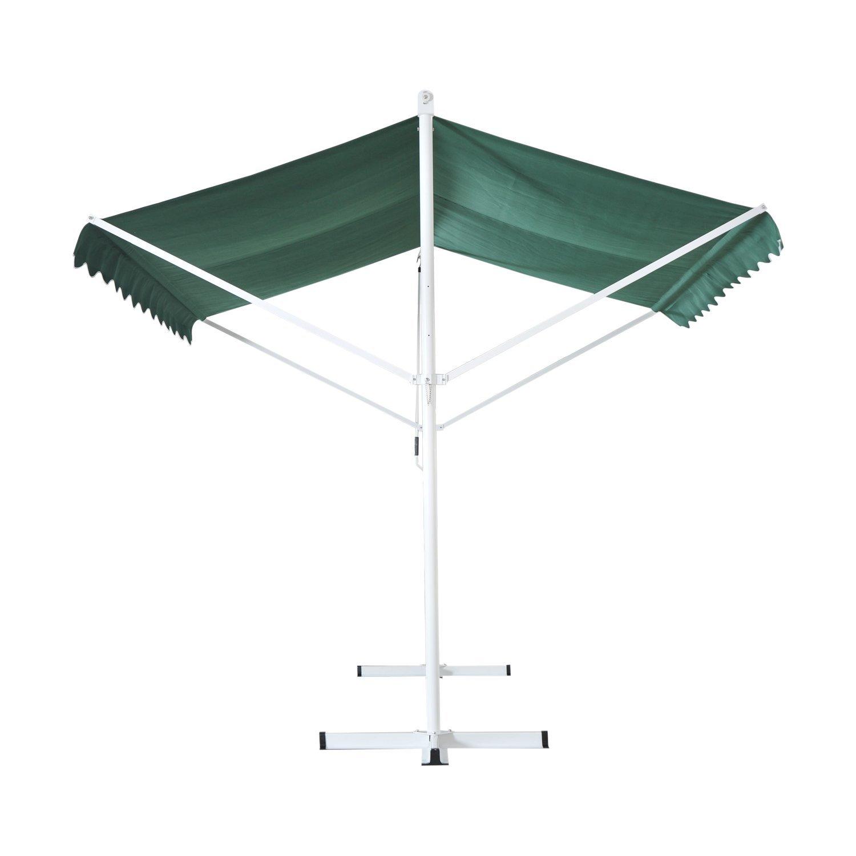 Store double pente manuel rétractable inclinaison réglable métal polyester imperméabilisé 2,95 x 2,95 x 2,6 m vert neuf 45GN
