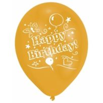 Falksson - Amscan 25,4 Cm-happy Birthday Latex Ballons 2 Face Avec 1 Couleur