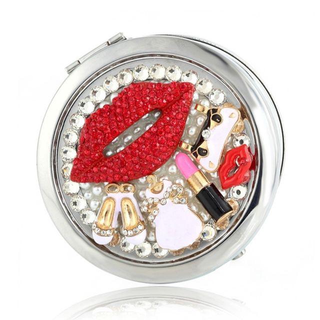 Wewoo Fait à la main bricolage diamant mini portable pliant miroir de maquillage de visage double face lèvres rouges de rouge